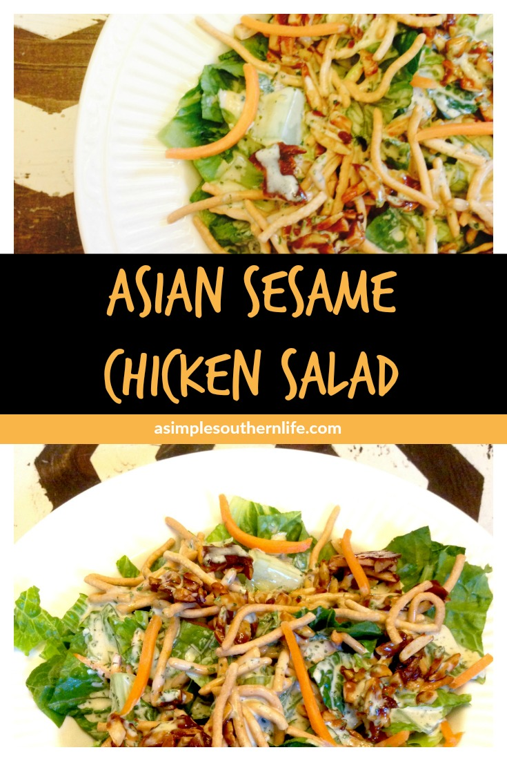 Asian Sesame Chicken Salad | This Asian Sesame Chicken Salad is SUPER easy to adapt to your lettuce preferences. The dressing is what makes this salad so flavorful.