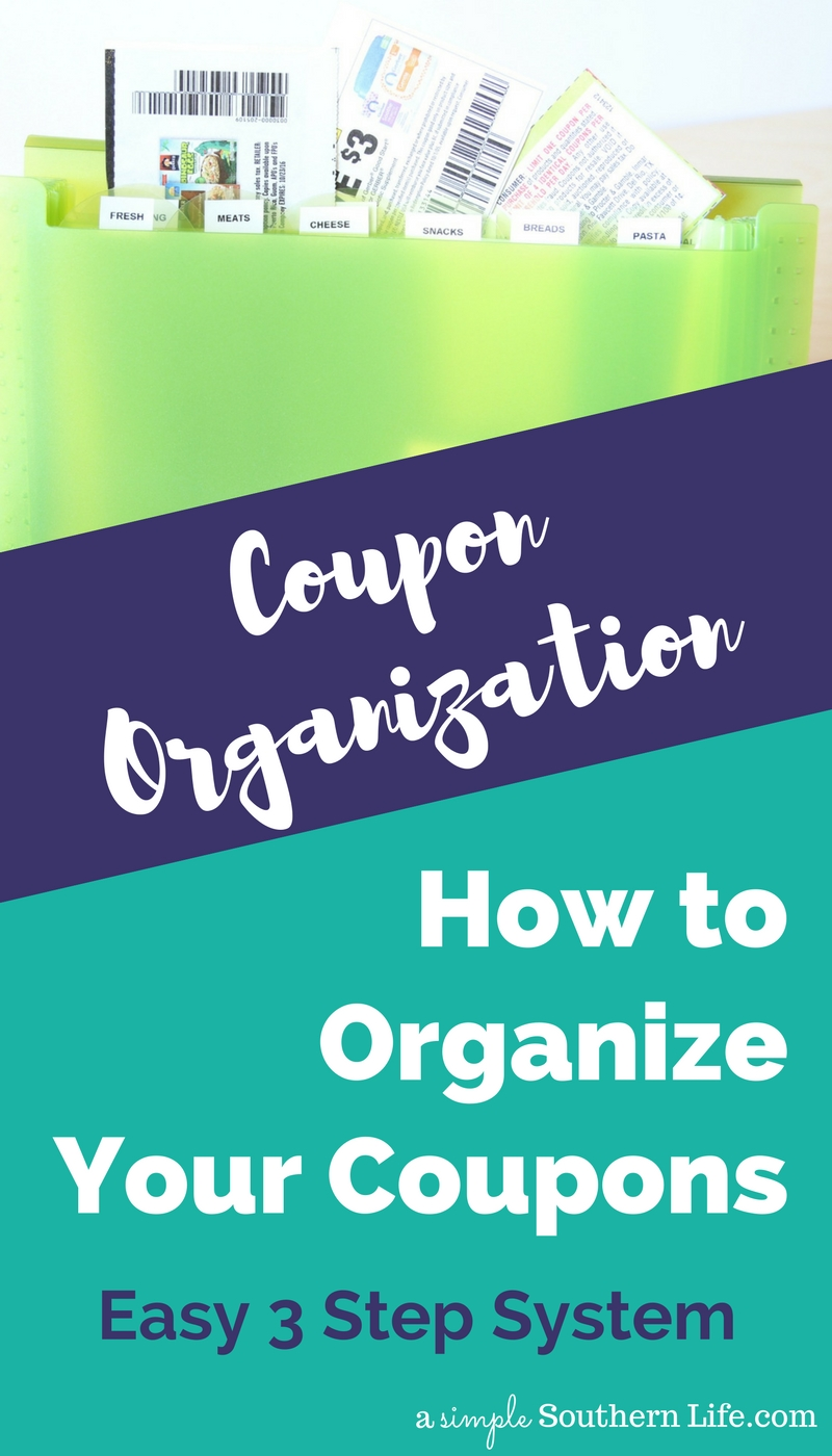 Using coupons is one of the easiest ways to save your family money without a lot of extra work. It's just a matter of clip, print, or save and use at checkout. Coupon organizing is going to be the first step in making sure that you actually remember to use the coupons to lower your grocery bill. Check out my easy 3 step system.